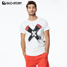 GLO-STORY 2019 Fashion Summer Mens Short Sleeve T-Shirts X Print Streetwear Male Tops Tee Shirts European Style MPO-8602