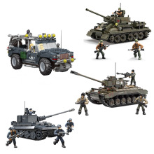 Wwii-Weapon Action-Figures Tiger-Tank Mega-Block Humvee Army Military of Building-Bricks