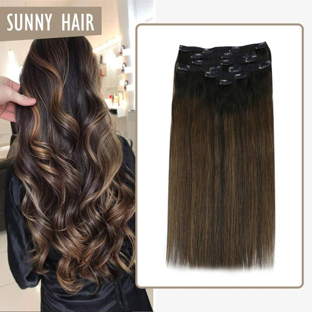 VeSunny Clip On Hair Extensions Human Hair Double Weft 7pcs Clip In Hair Balayage Natural Black Highlighted Brown #1B/6/1B 120gr
