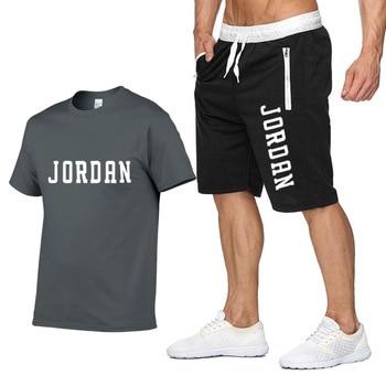 2piece Set Men Outfits Jordan 23 T-shirt Shorts Summer Short Set Tracksuit Men Sport Suit Jogging Sweatsuit Basketball Jersey
