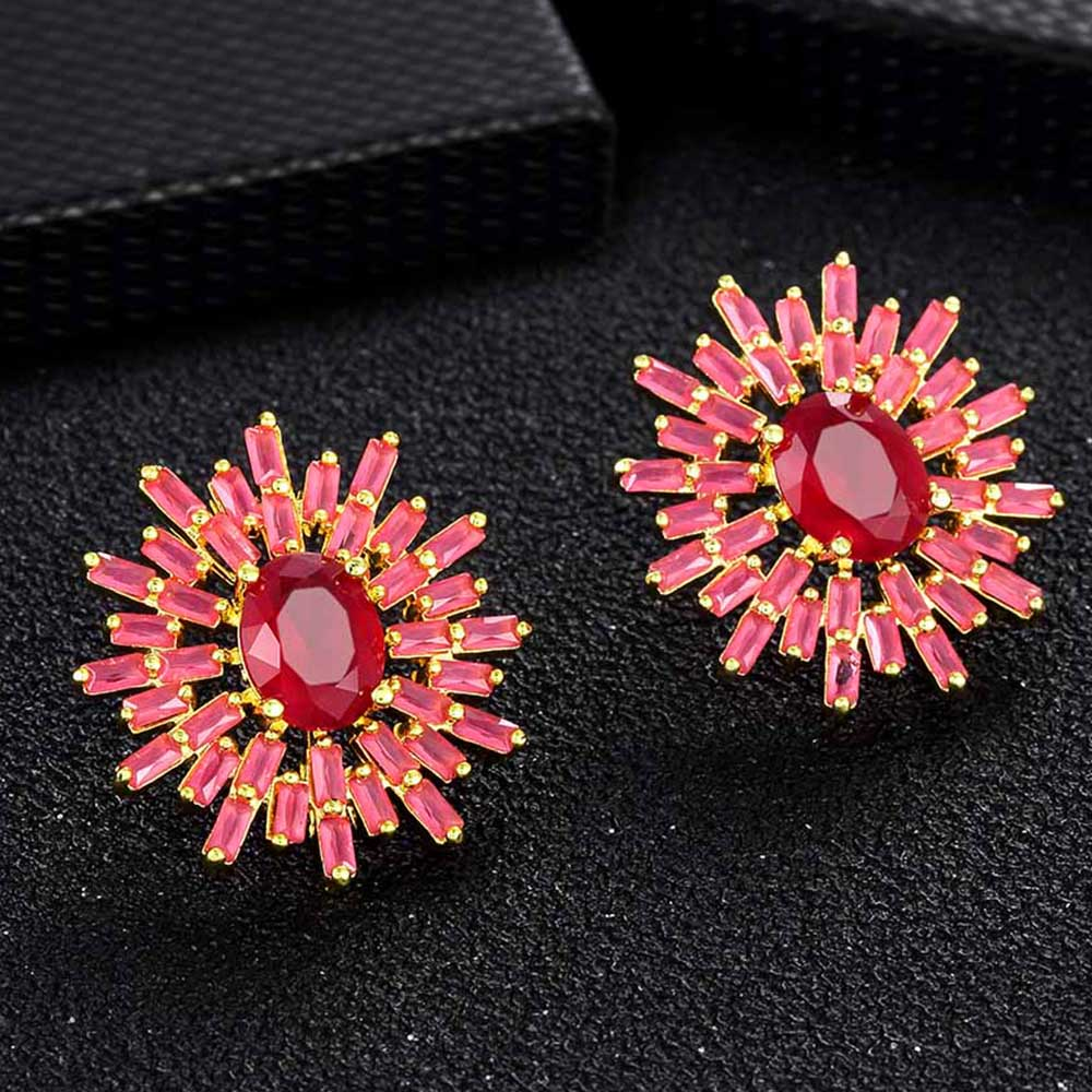 Popular Fashion New Style Micro Pave CZ Copper Stud Earrings Ladies Shiny Zircon Crystal Jewelry For Women Girls Decoration Gift