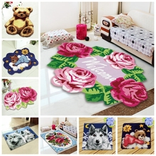 Latch Hook Rug Kits Crochet Carpet With Thread Knooppakket Do It Yourself Pastoral Europe Cartoon Gift Smyrna Latch Hook Carpet rainbow flower cushion button package smyrna needle for carpet embroidery everything for handmade latch hook rug do it yourself