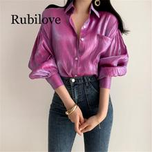 Rubilove 2019 Summer Reflective Loose Vintage Fashion Solid Thin Tops Retro Free Elegant Women All Match Casual Shirts 2 Colors