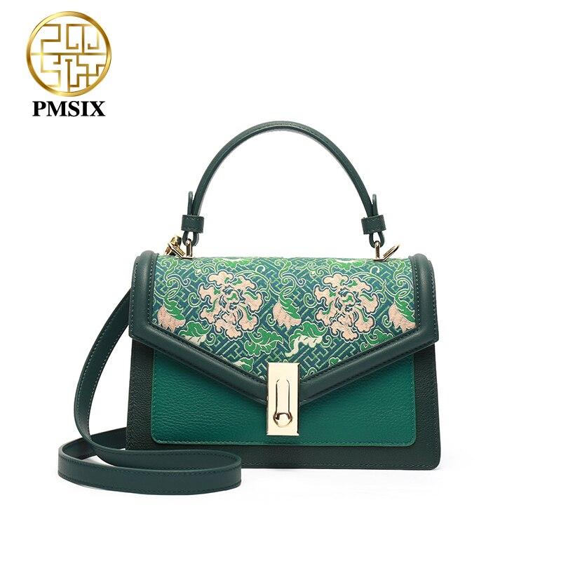Женская сумка из натуральной кожи Pmsix, зеленая дизайнерская мини сумка с роскошной вышивкой, маленькая сумка мессенджер Сумки с ручками      АлиЭкспресс