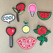 26 Style fashion patch Rose Watermelon Embroidery Iron on Patches for Clothing DIY Foods Stripes Clothes Stickers Appliques(China)