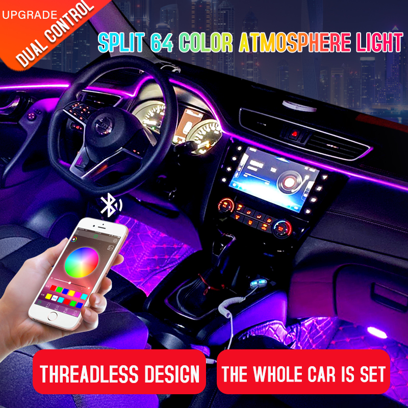 Led Car Interior Ambient Atmosphere Light Rgb App Remote Control Optic Fiber Auto Foot Center Console Door Decorative Lights