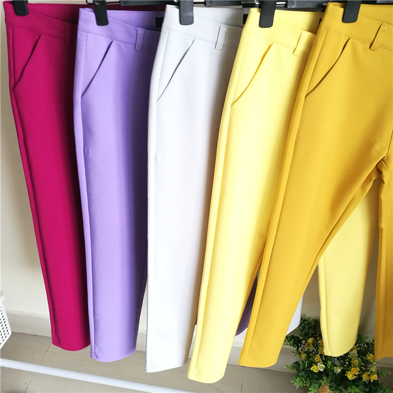 Fashion Streetwera Cute Candy Color Pencil Pant Women Stretch Cotton Slim Waist Straight Pants Female Casual Office Work Trouser