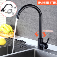 Stainless Steel Black Kitchen Faucet Kitchen Sink Water Tap Hot and Cold Single Handle Tap 360 Rotation Kitchen Shower Faucet