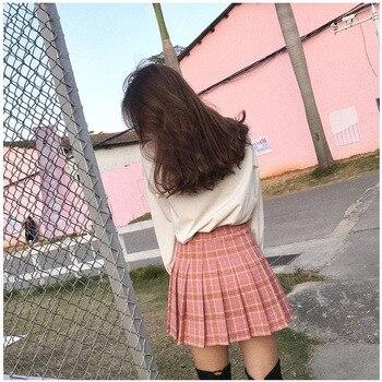 XS-2XLWomen Skirt Cute style High Waist Elegant Stitching Skirts Summer student pleated skirt women sweet cute girl dance skirt 4