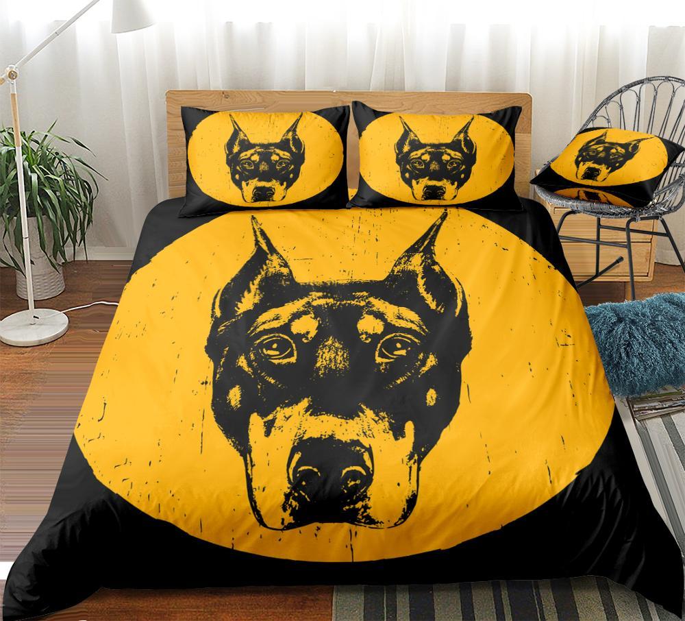 3 Pieces Dog Bedding Animal Duvet Cover Set Doberman Bed Set Yellow Home Textiles Black Kids Boys Girls Queen King Dropship