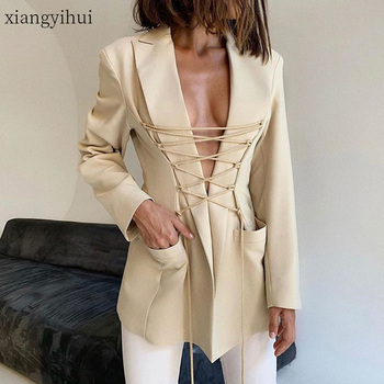 Black Sexy Long Sleeve Notched Collar Blazer Fashion Casual Cross Bandage Blazers Female Office Elegant OL Outwear Jacket 2020 1