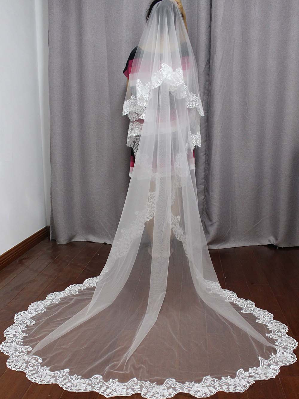 Elegant 2 Tiers Cover Face Wedding Veil With Blusher Soft Tulle White Ivory Bridal Veil With Comb 2.5 Meters Wedding Acessories