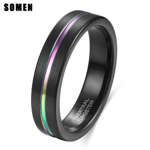 5 мм Радужное вольфрамовое основное кольцо для мужчин и женщин, классическое мужское обручальное кольцо, многоцветное Ювелирное кольцо для ...