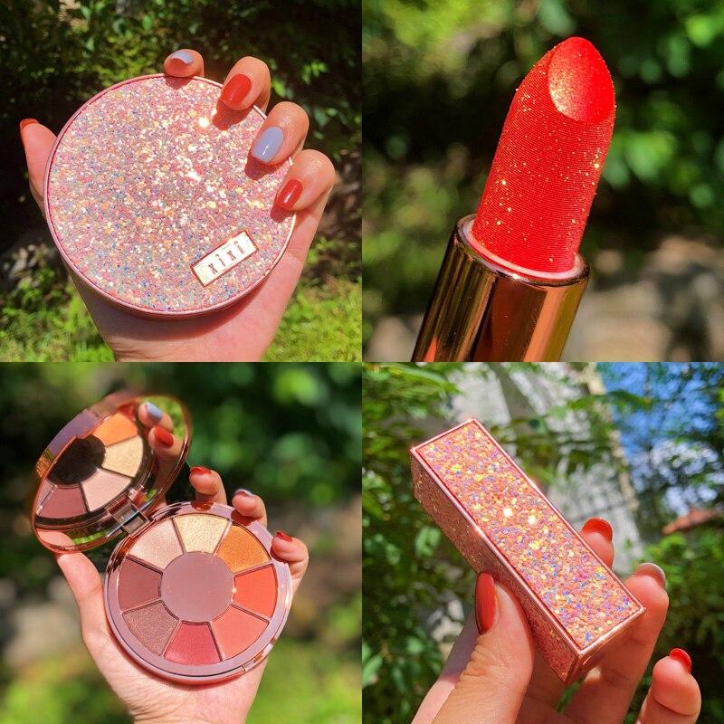 conjunto de maquiagem paleta sombra batom profissional brilhoso matte com glitter paleta de maquiagem pigmento para