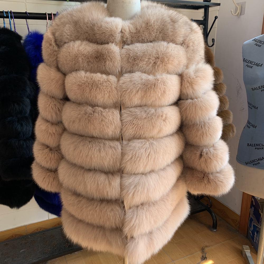 Real Fox Fur Coat Short Winter Fur Jacket Outerwear  Women Warm Coat Natural Fur