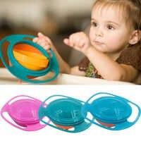 Cuenco de entrenamiento giroscópico Universal diseño práctico equilibrio rotatorio para niños novedad 360 grados rotar platos de alimentación para bebés a prueba de derrames