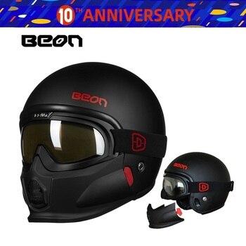 Envío gratis 1 Uds 3/4 abierto cara completa Vintage máscara única Vespa Moto Casque Casco Capacete Casco de la motocicleta con goggle