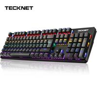 TeckNet Mechanical Gaming Keyboard Wired RGB 8 LED Backlit Switch Gaming Keyboards USB 105 Keycaps Metal Panel for Computer