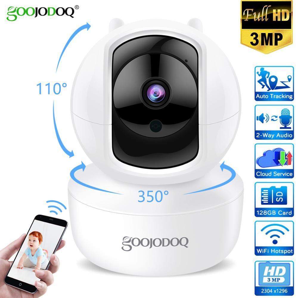 GOOJODOQ 3MP Cloud WiFi Security Camera HD 2304x1296 IP Camera Two Way Audio Home Wireless Camera Night Vision CCTV Baby Monitor