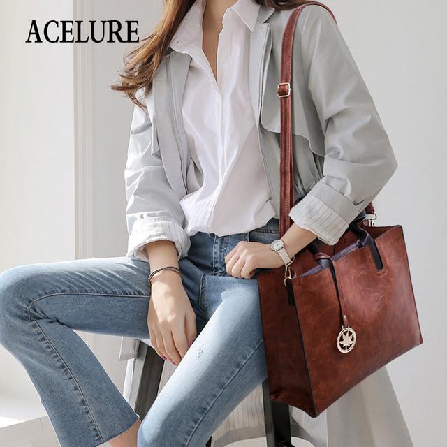 ACELURE Women Shoulder Bag 3Pcs/Set PU Leather Composite Bag Top-Handle Bags for Female Messenger Bags Ladies Crossbody Handbag