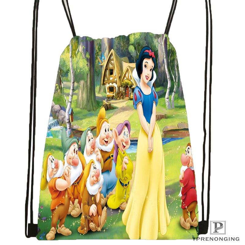 Custom Snow White Seven Dwarfs@09 Drawstring Backpack Bag Cute Daypack Kids Satchel (Black Back) 31x40cm#180531-02-36