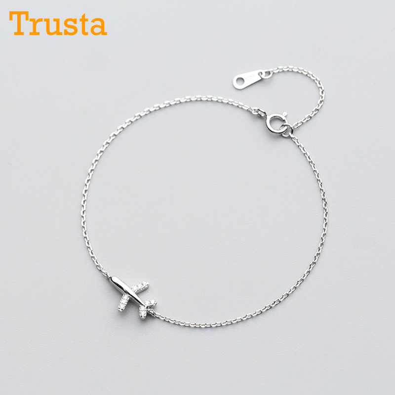 Trusta 100% 925 Solid Real Sterling Silver Fashion Women Jewelry Plane With CZ Bracelet 15.5cm For Teen Girls LadyGift DS1012