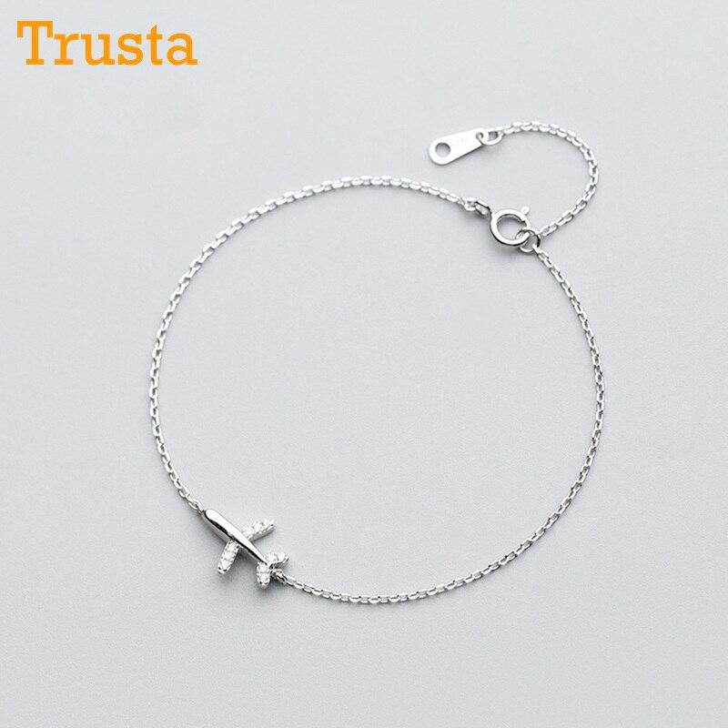 Trusta 100% 925 solide réel argent Sterling mode femmes bijoux avion avec Bracelet CZ 15.5cm pour adolescentes LadyGift DS1012
