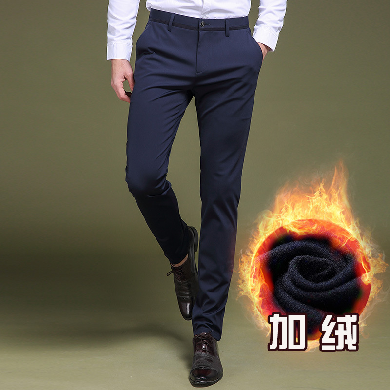 Brand Business Men's Trousers Plus Velvet Casual Pants MEN'S Trousers Slim Fit Elasticity Autumn And Winter Thick Skinny Pants M