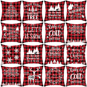 45x45cm Merry Christmas Decor For Home Santa Claus Elk Pillowcase Christmas Ornament 2020 Navidad Xmas Gift Happy New Year 2021 christmas xmas elk display window new year ornament simulation deer decorations reindeer simulated toy kids gift