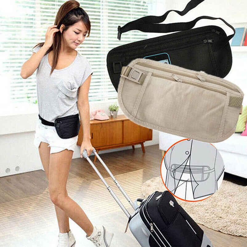 النساء المحمولة الأساسية سستة الحقيبة الخفية محفظة لجواز السفر المال أكياس حزام خصر حقيبة ضئيلة سر عارضة الصلبة الخصر حزم