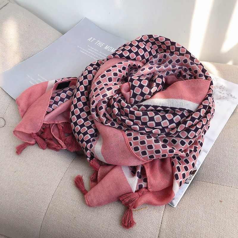 2020 di modo Spagna di Lusso di Marca di Polka Plaid Viscosa Sciarpa Dello Scialle Stampa Marmitta Molle di Grandi Dimensioni Hijab Sjaal Foulards Musulmano Snood