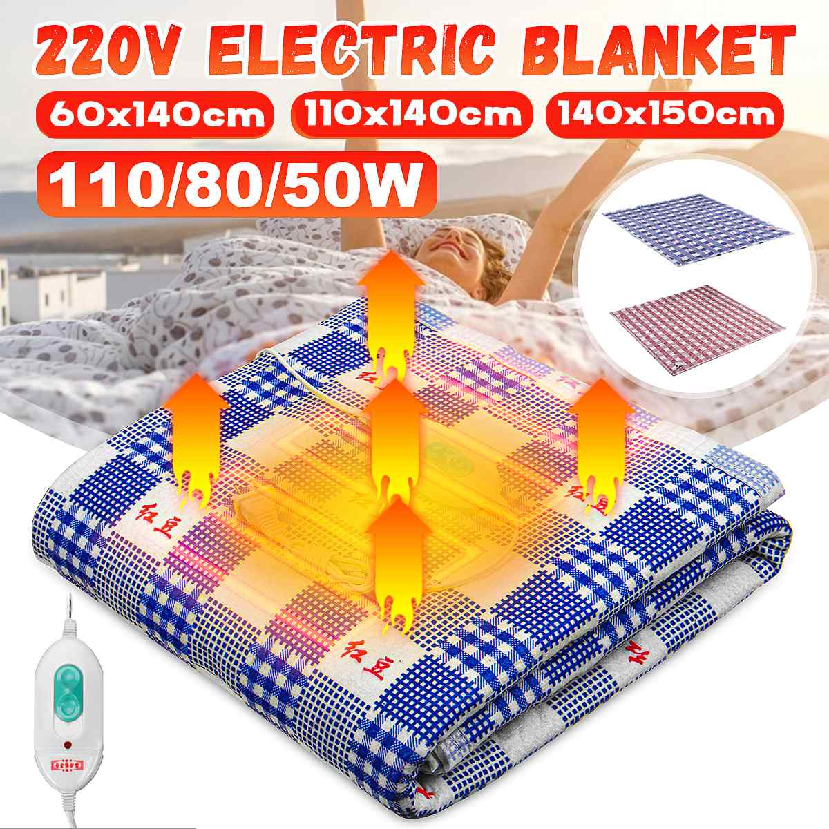 3 Size 220V Automatic Electric Heated Blanket Heating Mat Heating Thermostat Throw Blanket Winter Bed Mattress Warmer Carpet