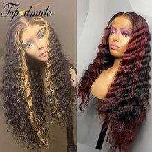 Topodmido 13x6 красный Синтетические волосы на кружеве человеческих волос парики с детскими волосами Выделите коричневый Цвет бразильский Волос...