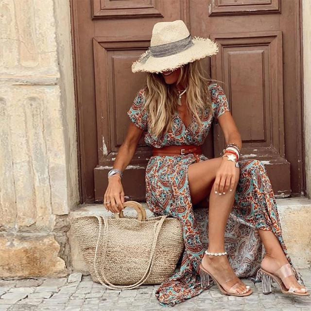 Summer Dress Women Casual Boho Bohemian Long 2021 Chiffon Oversize Short Sleeve Maxi Beach Dress Casual Elegant Sundress 5