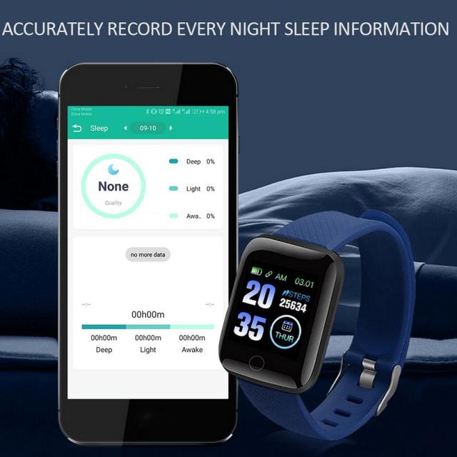 116 Plus Smart Watch Wristband Sports Fitness Blood Pressure Heart Rate Call Message Reminder Android Pedometer Smart Watch 3