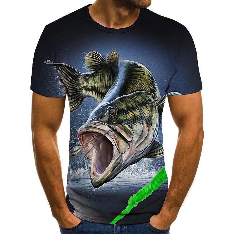 2020 New T-shirt Men's Casual 3D Printed T-shirt Personalized Cool Design Fish Print Hip-hop T-shirt Harajuku Shirt T-shirt