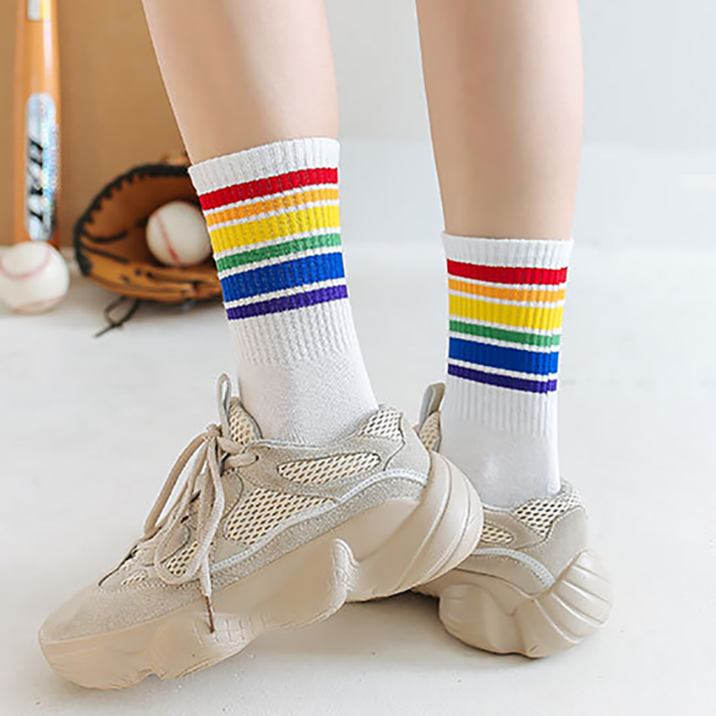 Long Socks Rainbow Color Street Fashion Korean Sock Christmas Cotton Cute Socks Skarpetki Calcetines 2019 New Sokken Black/White(China)