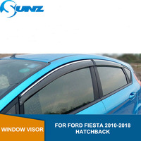 Lado Winodow Defletores Para Ford FIESTA 2010 2011 2012 2013 2014 2015 2016 2017 2018 Guardas de Sun Sombra Toldos Abrigos SUNZ