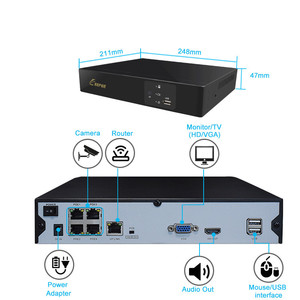 Image 3 - Keeper h.265 5mp poe nvr para 4ch 2mp/5mp segurança gravador de vídeo h.265 movimento detectar onvif p2p cctv nvr