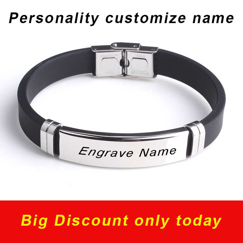 fashion engrave logo custom name bracelet Smooth Silicone 316L Stainless Steel bracelets for men personality jewelry