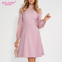 S.FLAVOR Hot Sale Vintage Patchwork A line Dresses Women Autumn Winter Long Sleeve Turtleneck Casual Dress Female Pencil Dress