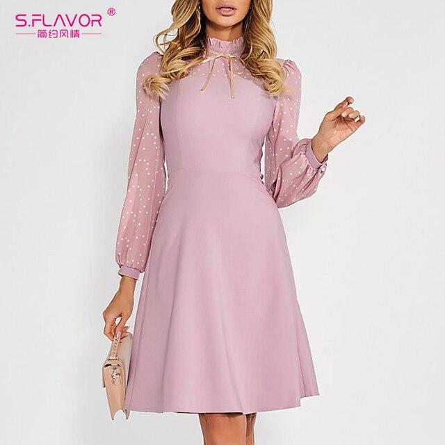 S.FLAVOR Hot Sale Vintage Patchwork A line Dresses Women Autumn Winter Long Sleeve Turtleneck Casual Dress Female Pencil Dress