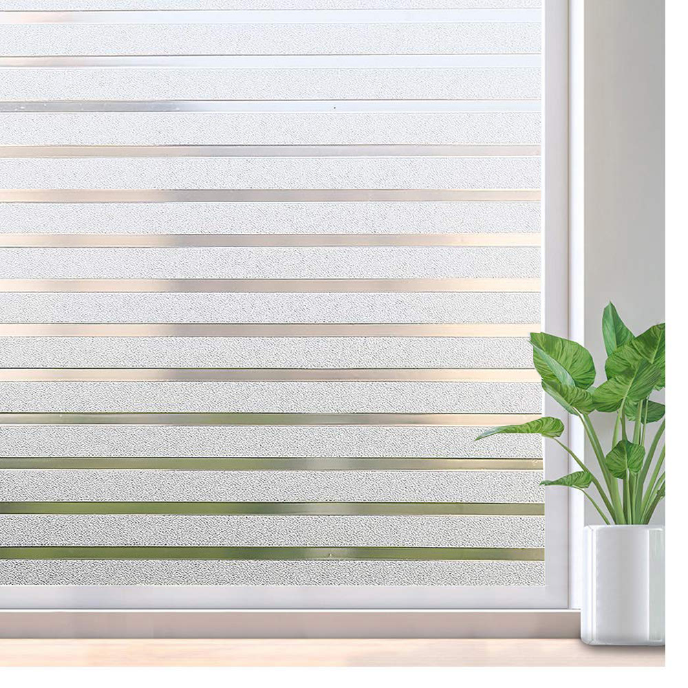 LUCKYYJ Window Sticker Striped Window Decal Non-Adhesive Privacy Film, Vinyl Glass Film Window Tint for Home Kitchen and Office