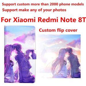 Image 1 - DIY טלפון שקית אישית תמונה תמונה עור מפוצל מקרה flip כיסוי עבור Xiaomi Redmi הערה 8T