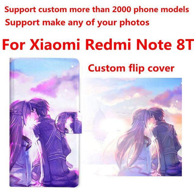DIY טלפון שקית אישית תמונה תמונה עור מפוצל מקרה flip כיסוי עבור Xiaomi Redmi הערה 8T