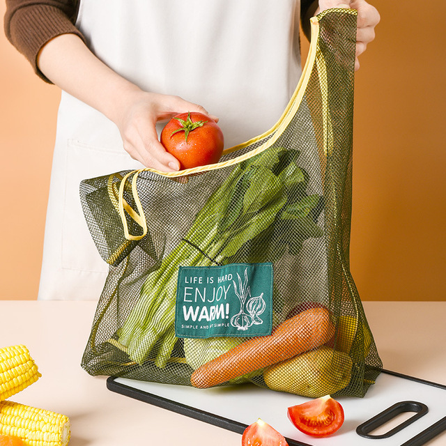 Large Fashion Multi-purpose Kitchen Onion Potato Hangable Fruit and Vegetable Storage Net Basket Hollow Bag Organize Tote Bag 2