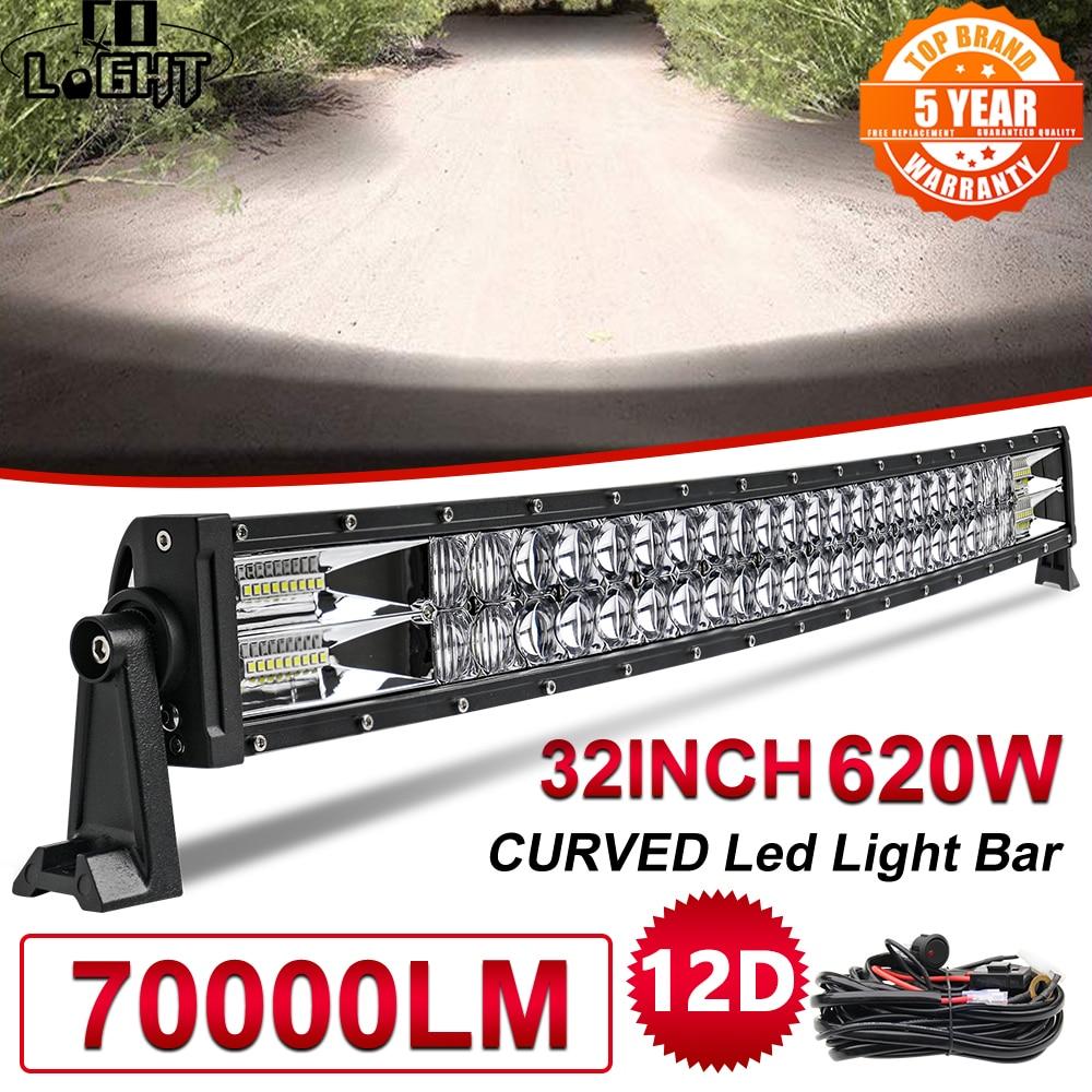 CO lumière 32 pouces 620W lumière à Led incurvée barre voiture double rangée faisceau d'inondation conduite tout-terrain Led travail camion léger 4x4 SUV ATV 12V 24V