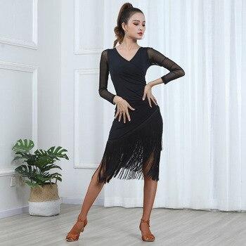 Women Sexy Mid Long Sleeve Printing Latin Dance Training Tassel Clothing Ballroom Dress Tango Modern Rumba Performance Dancewear 1