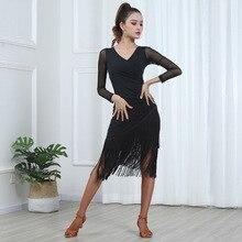 Women Sexy Mid Long Sleeve Printing Latin Dance Training Tassel Clothing Ballroom Dress Tango Modern Rumba Performance Dancewear