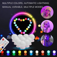 10LED Makeup Mirror Light Remote Control Hollywood Vanity Mirror Lights Bulb Colorful Decoration Lamp Bulb for Bathroom Wall